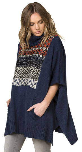 Miss Me Women's Before Sunrise Pullover Poncho , Blue, hi-res