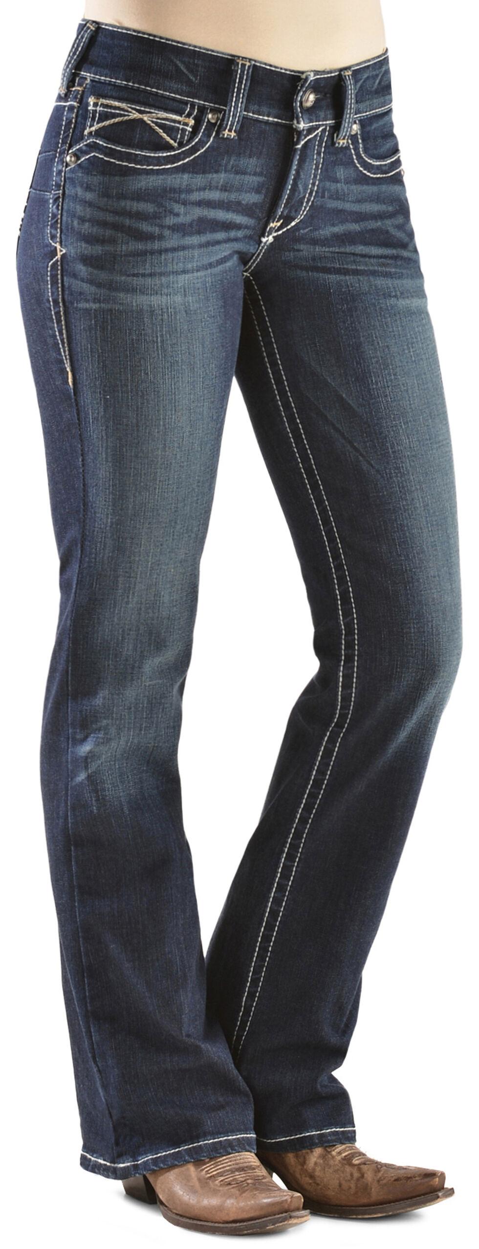 Ariat Women's R.E.A.L. Whipstitch Boot Cut Jeans, Denim, hi-res