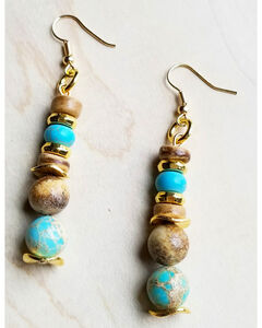 Jewelry Junkie Women's Blue Regalite and Wood Earrings with Gold Accents, Light Blue, hi-res