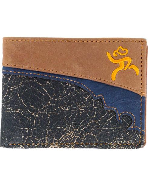 HOOey Men's Roughy Crackled Bi-Fold Wallet, Brown, hi-res