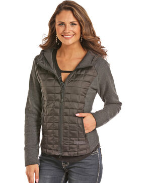 Rock & Roll Cowgirl Women's Black Mixed Media Quilted Jacket , Black, hi-res