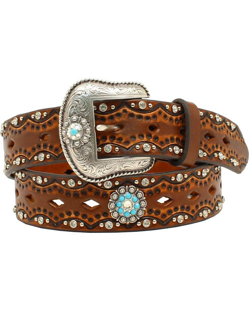 "Ariat Women's 1 1/2"" Diamond Concho Turquoise Stone Belt, Brown, hi-res"