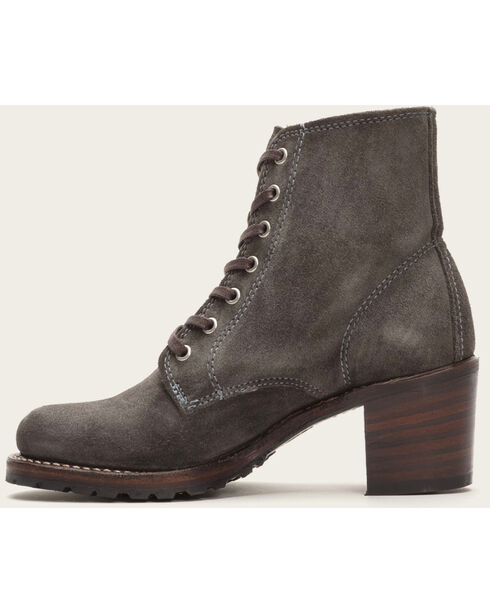 Frye Women's Charcoal Sabrina 6G Lace Up Boots - Round Toe , Dark Grey, hi-res