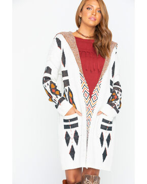 Shyanne Women's Hooded Aztec Cardi Sweater , Ivory, hi-res