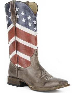 Roper Men's Waving American Flag Western Boots - Square Toe , Brown, hi-res