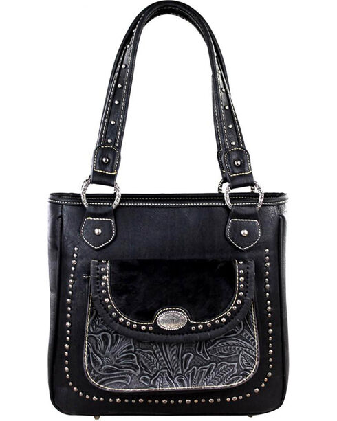 Trinity Ranch Women's Black Tooled Concealed Carry Handbag , Black, hi-res
