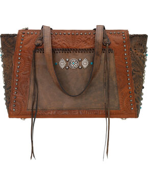 American West Women's Rio Grande Zip-Top Tote , Brown, hi-res