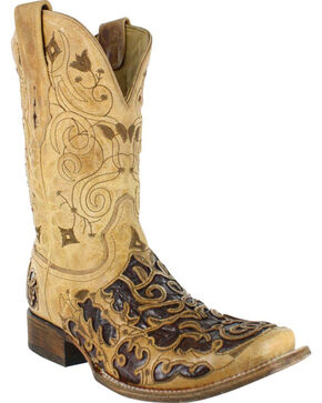 Corral Men's Caiman Inlay Exotic Boots - Square Toe , Brown, hi-res