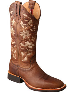 Twisted X Women's Brown Floral Ruff Stock Cowgirl Boots - Square Toe, , hi-res