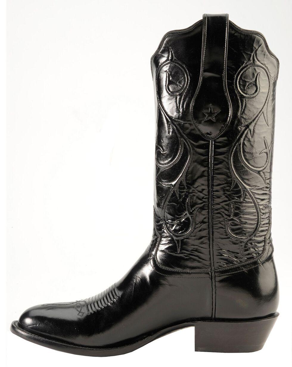 Tony Lama Signature Series Brushed Goat Cowboy Boots - Round Toe, Black, hi-res