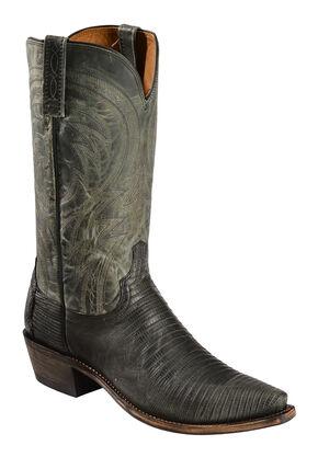 Lucchese Handmade 1883 Men's Percy Lizard Cowboy Boots - Snip Toe, Dark Grey, hi-res