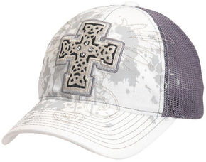 Blazin Roxx Bedecked Cross Mesh Back Cap, White, hi-res