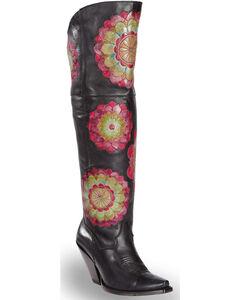 "Dan Post Women's Flower Patch 20"" Knee High Western Boots - Snip Toe, Multi, hi-res"