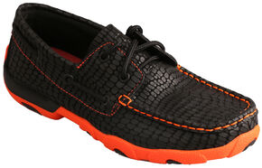 Twisted X Women's Black Print & Neon Orange Driving Mocs , Black, hi-res
