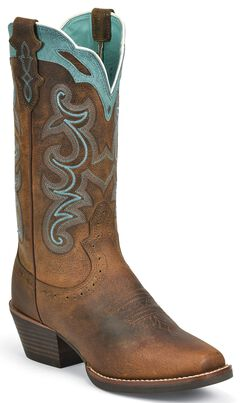Justin Silver Blue Embroidered Cowgirl Boots - Square Toe, , hi-res