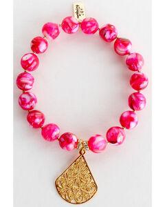 Everlasting Joy Jewelry Women's Flush Rose Gold Dangle Bracelet , Bright Pink, hi-res