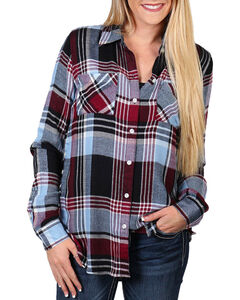 Shyanne Women's Button Sides Plaid Long Sleeve Shirt, Navy, hi-res