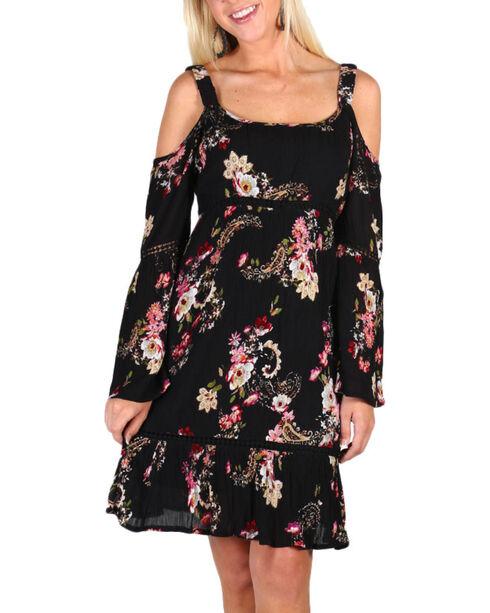Bila Women's Black Floral Cold Shoulder Dress, Black, hi-res