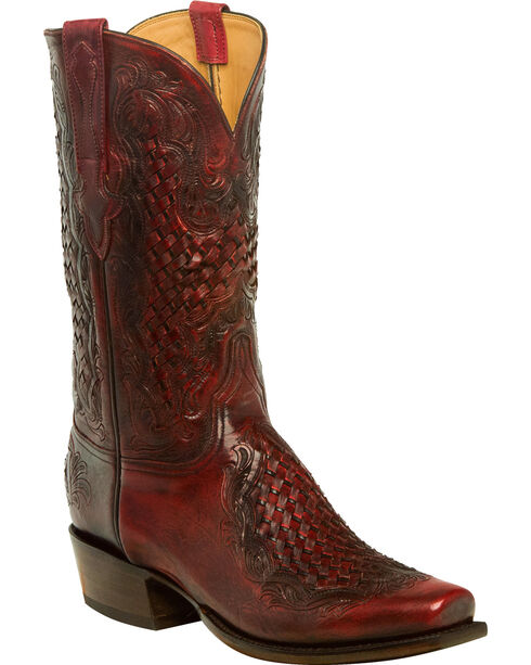 Lucchese Men's Handmade Aiden Chocolate Woven Leather Inlay Western Boots - Square Toe, Black Cherry, hi-res
