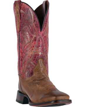 Dan Post Women's Tan and Pink Polly Western Boots - Square Toe , Tan, hi-res