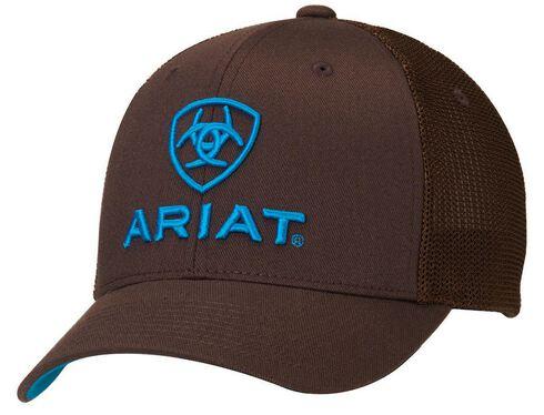 Ariat Flex Fit Mesh Back Logo Cap, Brown, hi-res