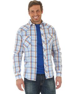 Wrangler Men's Blue Fashion Long Sleeve Western Plaid Shirt , Blue, hi-res
