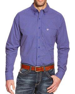 Ariat Men's Dot Patterned Pocket Long Sleeve Shirt, Blue, hi-res