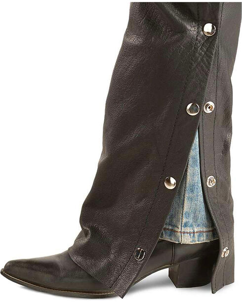 Interstate Leather Women's Black Basic Motorcycle Chaps , Black, hi-res