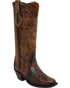 Lucchese Brown/Green Sasha Lizard Cowgirl Boots - Narrow Square Toe , Brown, hi-res