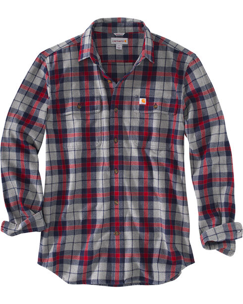 Carhartt Men's Hubbard Plaid Shirt , Navy, hi-res