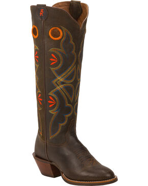 Tony Lama Cafe Loco Carrizo 3R Buckaroo Cowgirl Boots - Round Toe , Dark Brown, hi-res