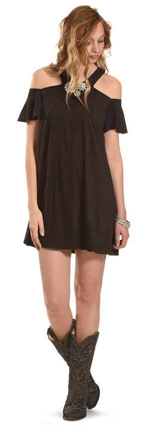 Jody of California Women's Black Cold Shoulder Micro Suede Dress , Black, hi-res