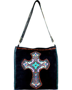 Montana West Women's Delila Embroidered Cross Tote, Black, hi-res