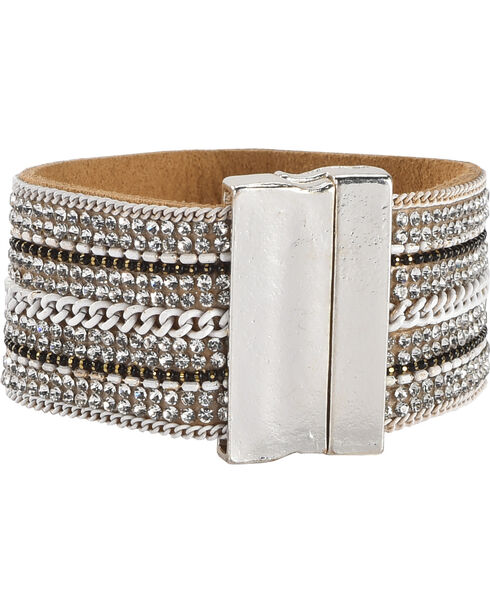 Shyanne Women's Magnetic Leather Cuff Bracelet, Silver, hi-res