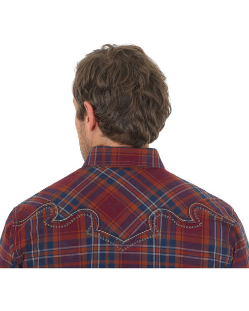 Wrangler Rock 47 Men's Plaid Two Pocket Snap Shirt - Big & Tall, Red, hi-res