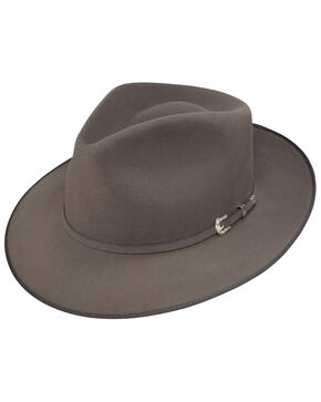 Stetson Men's G. D. Rye Royal Deluxe Felt Fedora Hat, Grey, hi-res