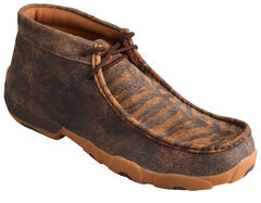Twisted X Men's Distressed Tiger Leather Driving Mocs, , hi-res