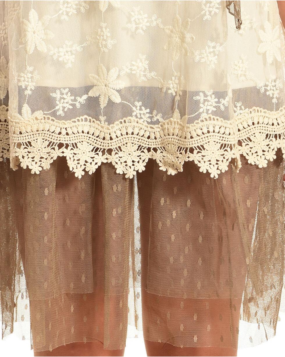 Young Essence Women's Tie Neck Lace Dress, Beige/khaki, hi-res
