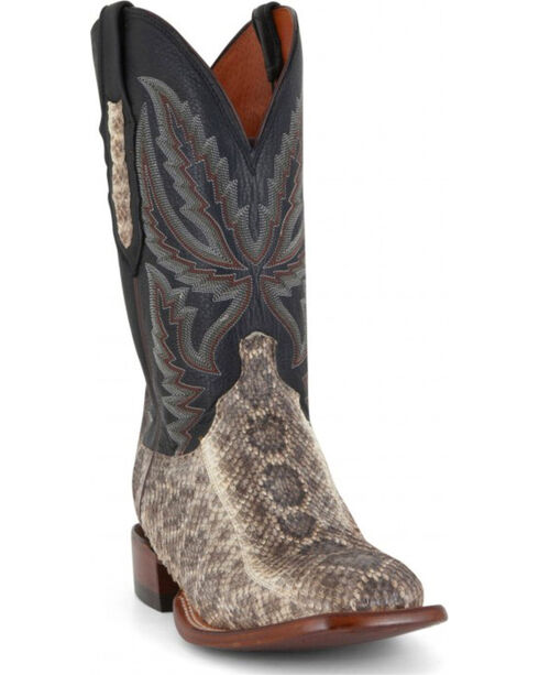 Lucchese Men's Rattlesnake and Calf Western Boots - Wide Square Toe  , Black, hi-res