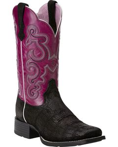 Ariat Quickdraw Gator Print Cowgirl Boots - Square Toe, Black, hi-res