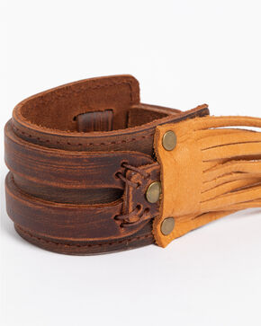Jewelry Junkie Western Cuff with Leather Fringe, Brown, hi-res