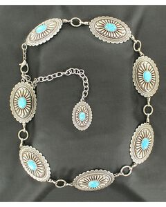 Ariat Oval Turquoise Concho Chain Belt, Silver, hi-res