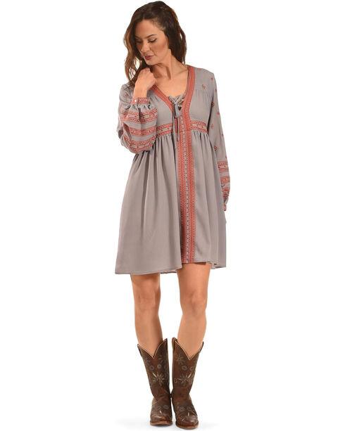 MI. OH. MI. Women's Tie Neck Embroidered Dress, Grey, hi-res