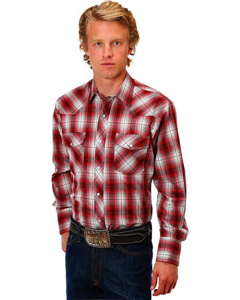 Roper Men's Red Classic Plaid Shirt , Red, hi-res