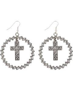 Shyanne Women's Rhinestone Cross Hoop Earrings, Silver, hi-res