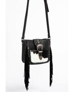 Shyanne Women's Hair-On Crossbody Bag, Black, hi-res