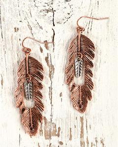 Shyanne Women's Copper Feather Earrings, Rust Copper, hi-res