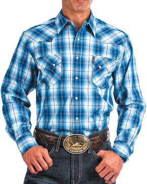Cinch Men's Blue Plaid Modern Fit Shirt , Blue, hi-res