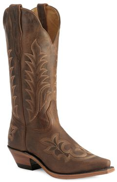 Boulet Fancy Stitched Vamp & Shaft Cowgirl Boots - Snip Toe, , hi-res