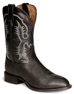 Tony Lama Black Bullhide Stockman Boots - Round Toe, , hi-res